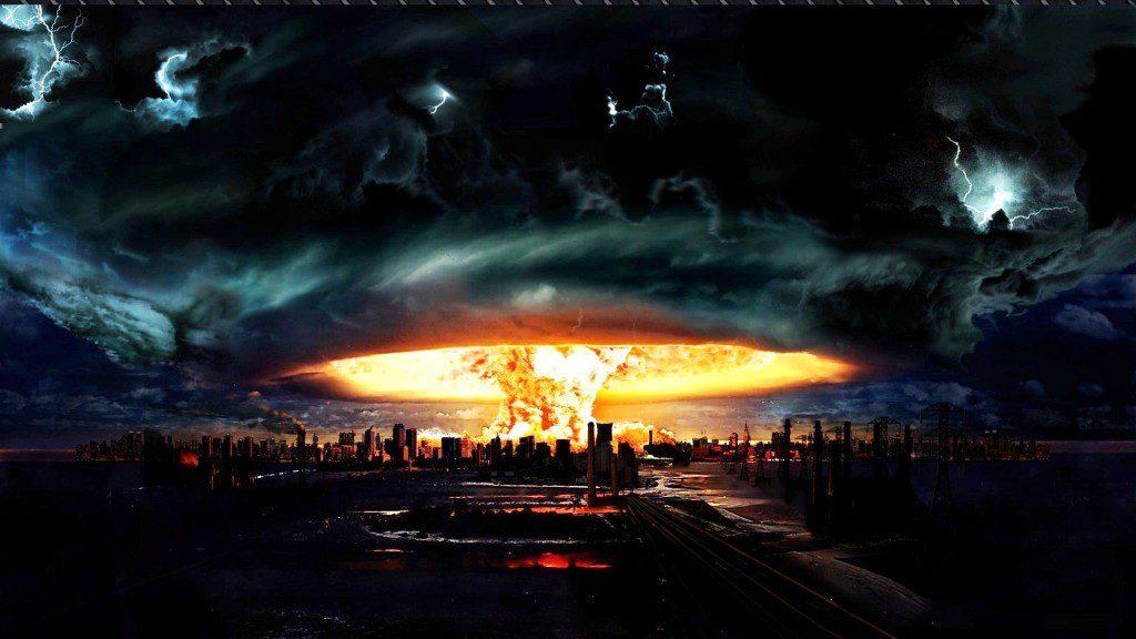 Fire Tornado over a city - cool desktop background