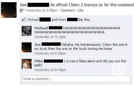 Blew 2 Trannys - Funny Facebook Post