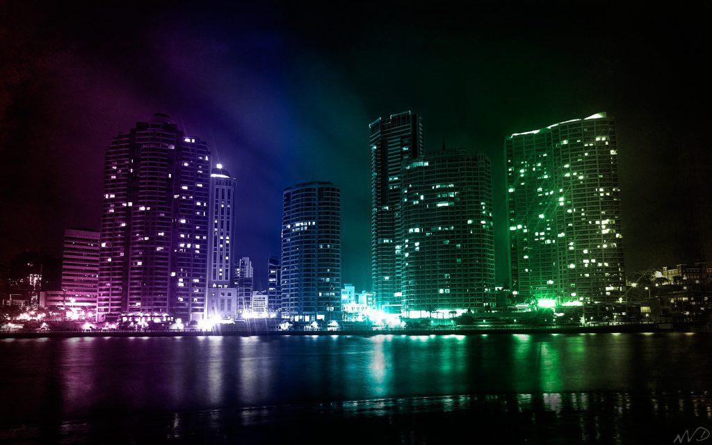 Multicolored City Lights - Cool Desktop Background