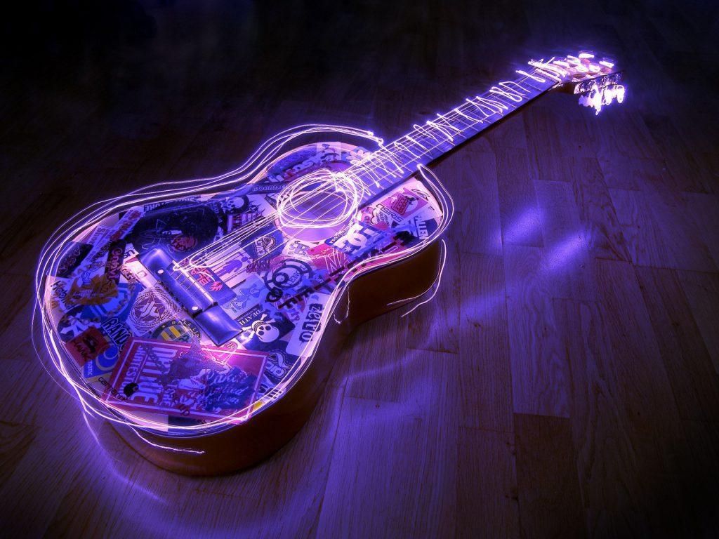 Neon Acoustic Guitar - cool desktop background