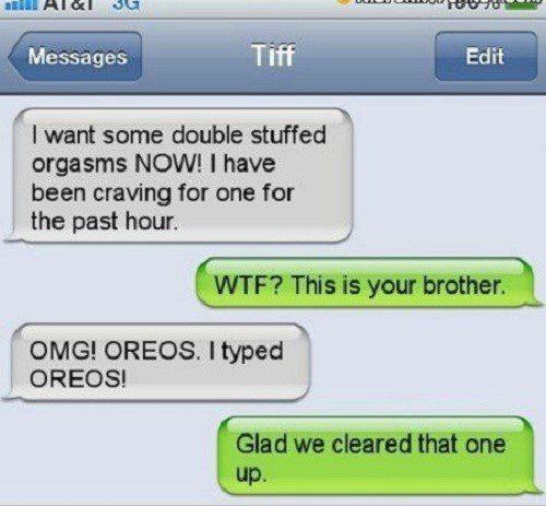 Stuffed Oreos - funny text message fail
