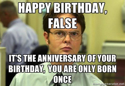 Happy Birthday False - Dwight Schrute Meme - The Office Meme