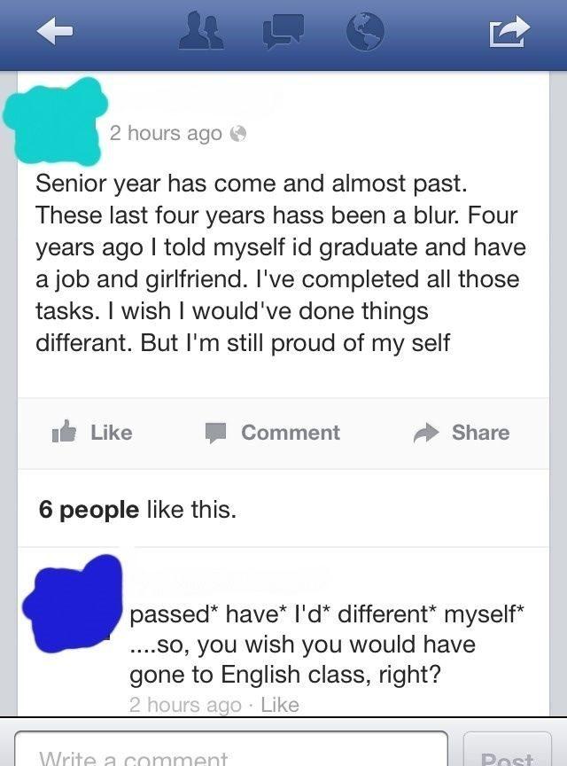 Poor Grammar - Funny Facebook Post