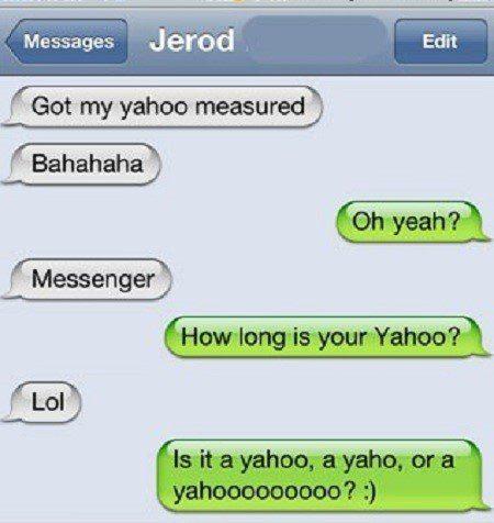 Got My Yahoo Measured - funny sms fail - text message fail
