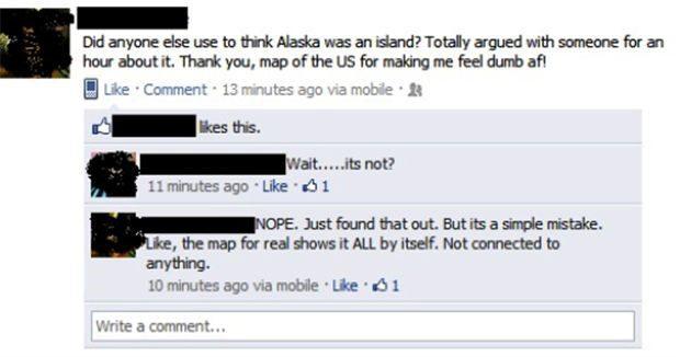 Alaska Is An Island - Funny Facebook Post