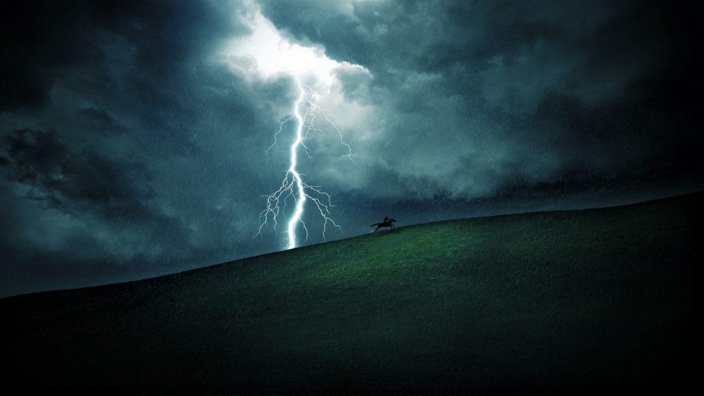 When The Lightning Strikes - Lightning striking a hill