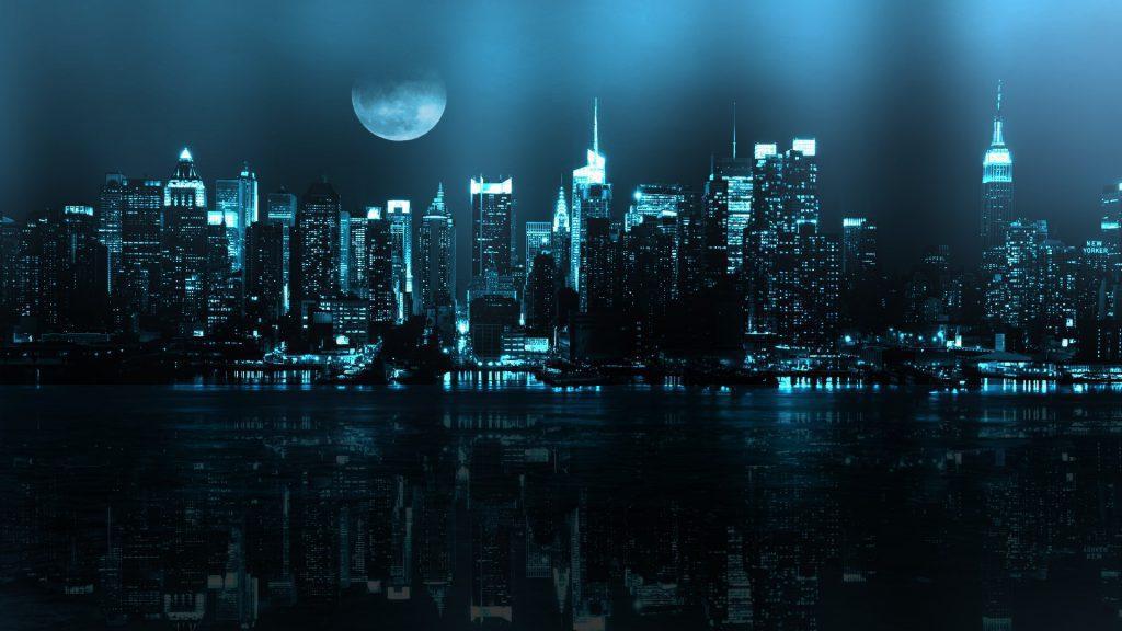 City At Night - moon light city wallpaper background