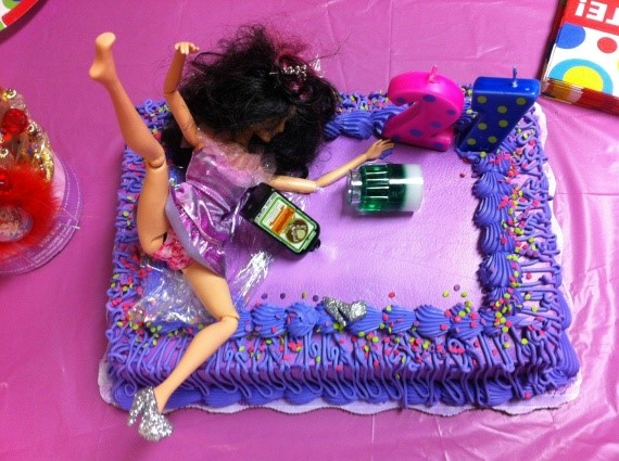 21st birthday meme - girl on cake
