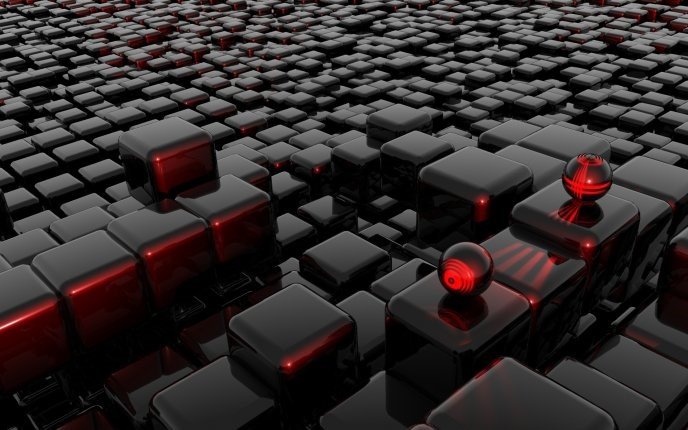 Abstract Red 3D Cubes Wallpaper - hd tablet wallpalper