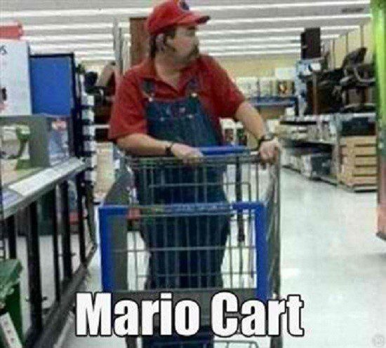 Mario Cart - Funny Caption picture - guy in walmart dressed as mario