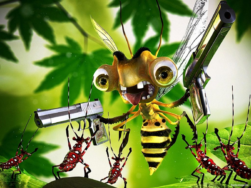Bee With A Gun - Funny Wallpaper