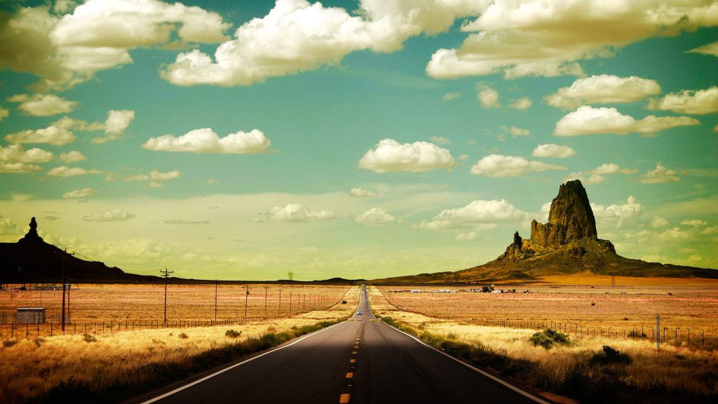 Desert Road And Landscape - HD Tablet Wallpaper
