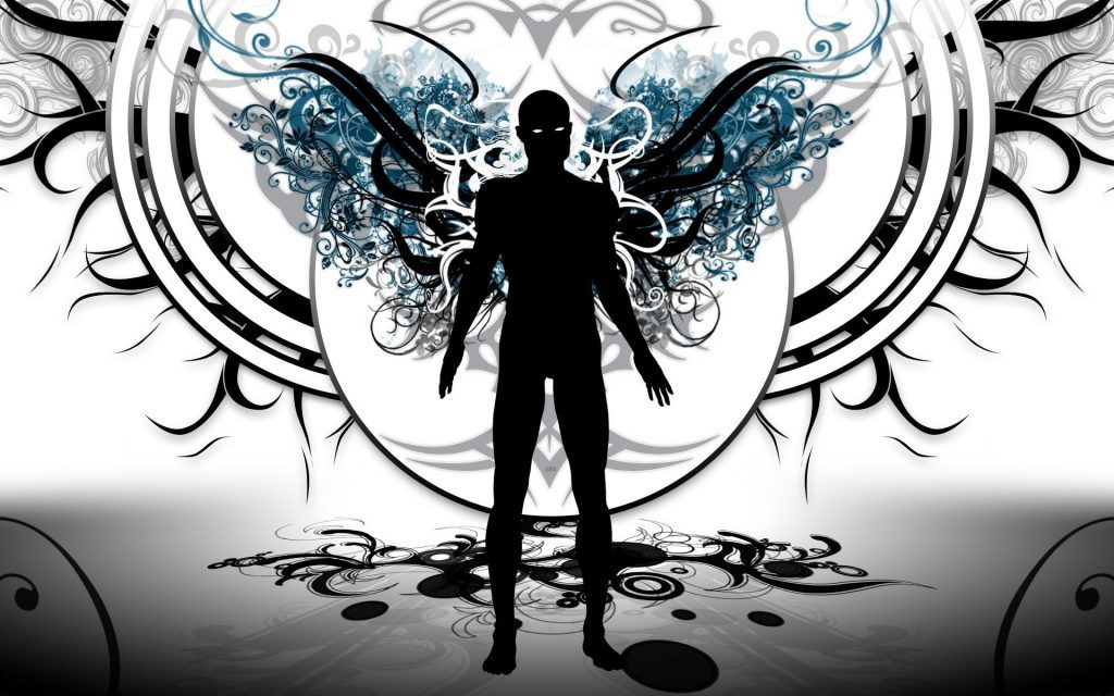 abstract man with wings wallpaper background