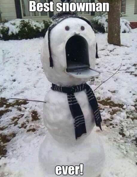 Best Snowman Ever - snowman built around a mailbox - funny picture