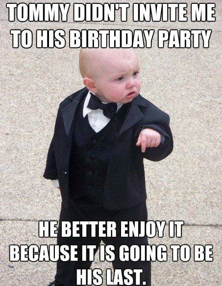 baby birthday meme - mafia kid - mobster baby