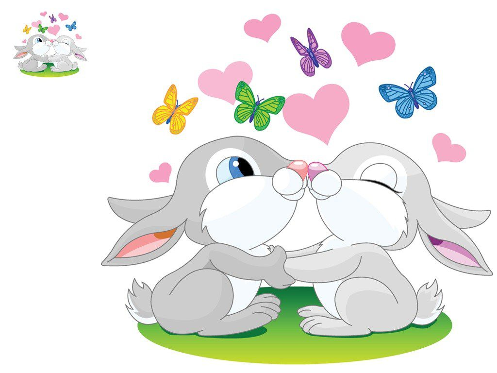 Cartoon Bunnies Wallpaper Background - hearts love