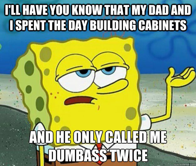 I'll Have You Know That My Dad And I Spent The Day Building Cabinets And  He Only Called Me A Dumbass Twice - Spongebob Meme