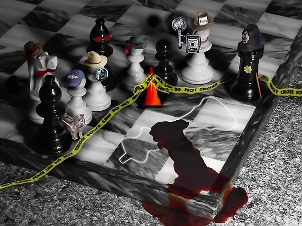 Chess Board Murder Scene - funny wallpaper - desktop background