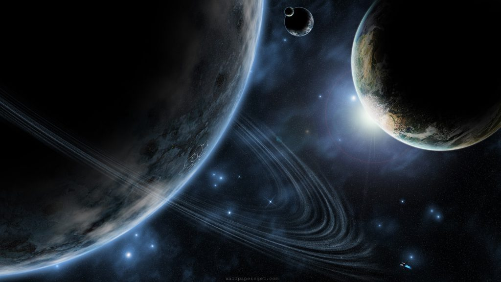 In Outer Space Wallpaper - planets earth saturn