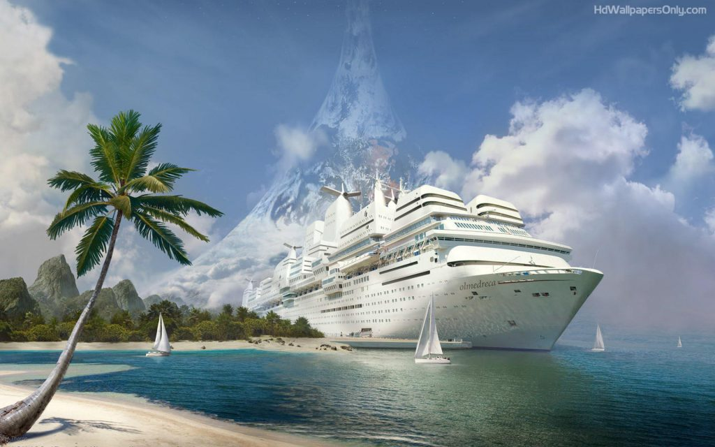 Cruise Ship In The Tropics - palm tree white sandy beach - wallpaper background