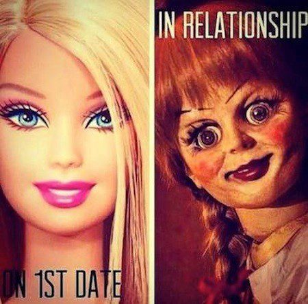 On First Date Vs. In A Relationship - meme