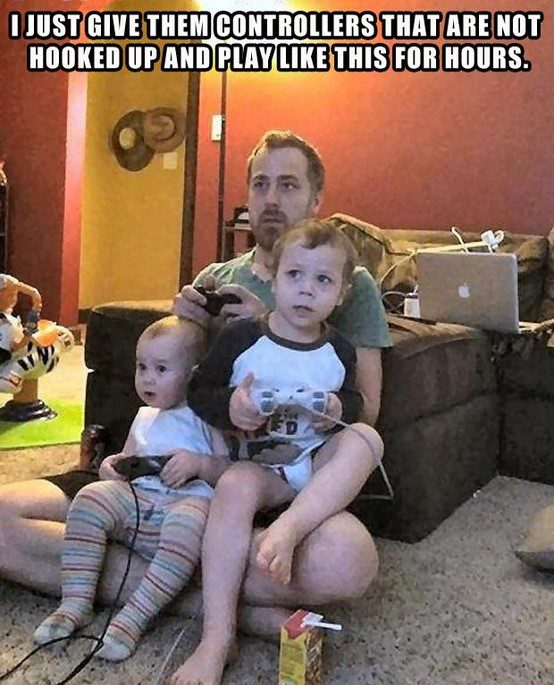 Give Them Controllers That Aren't Hooked Up - hilarious caption photo