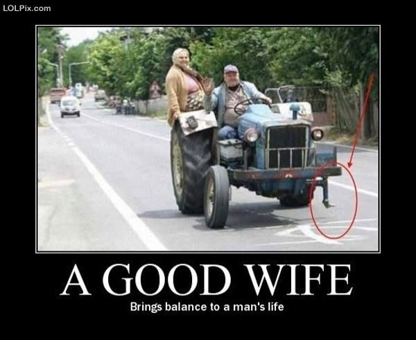 A Good Wife Brings Balance To A Man's Life - funny image meme