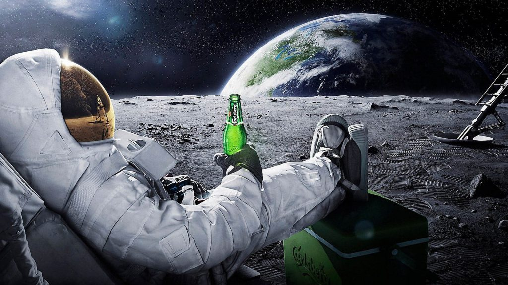 Chilling On The Moon - Cool Desktop Wallpaper background