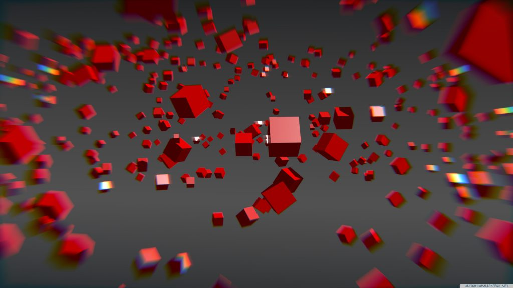 Red 3d Blocks Wallpaper Background