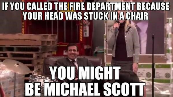 Head Stuck In A Chair - The Office Meme
