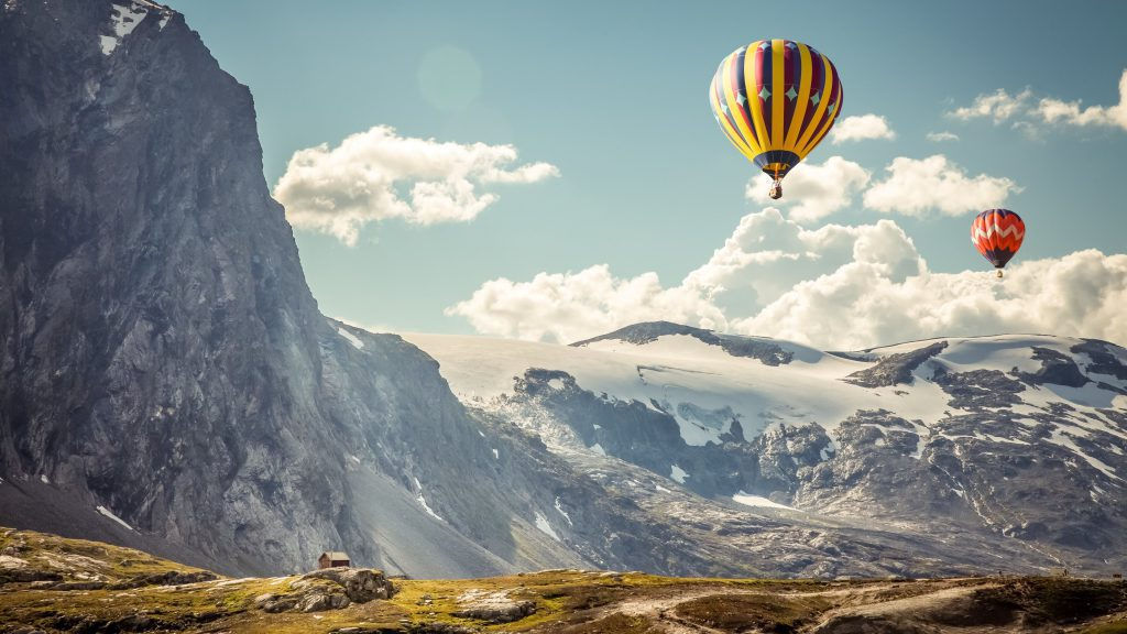 Hot Air Balloons In The Mountains Wallpaper - Background