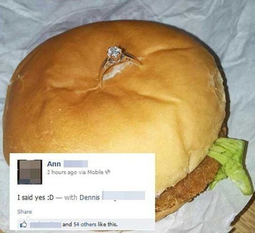 I Said Yes - engagement ring in a cheeseburger - relationship meme