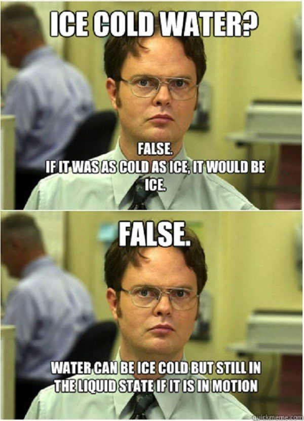 Ice Cold Water False - Dwight Schrute Meme - The Office Meme