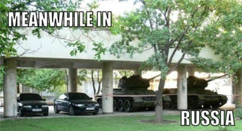 Meanwhile In Russia - funny photo - tanks in parking lot