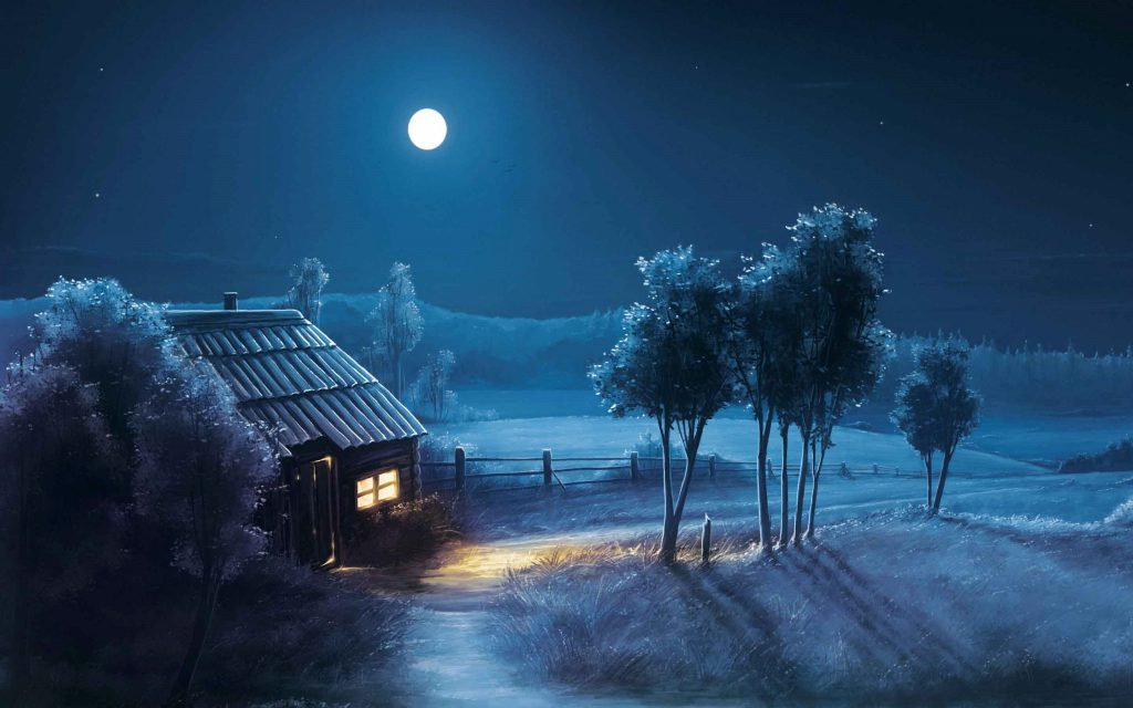 Cabin with snow covered land and trees - wallpaper background