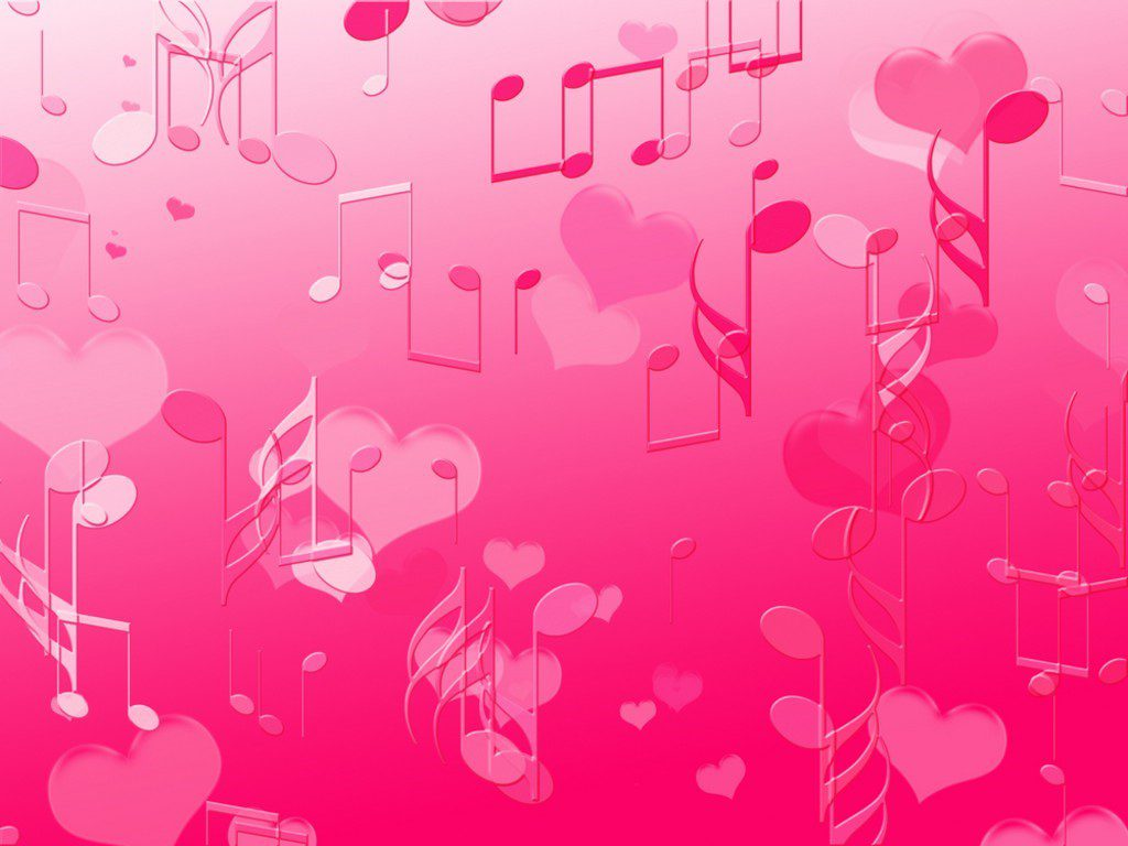 Pink Music Notes And Hearts