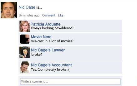 Nic Cage Is.... - Funny Facebook Post