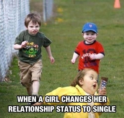 When A Girl Changes Her Relationship Status To Single - meme