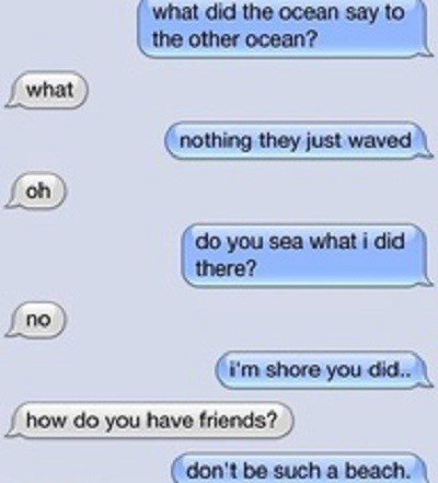 What Did One Ocean Say To The Other - Funny Text - SMS