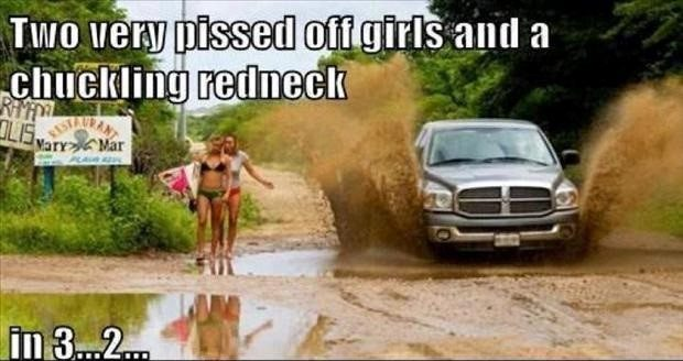 Two Pissed Off Girls And A Chuckling Redneck - funny caption photo