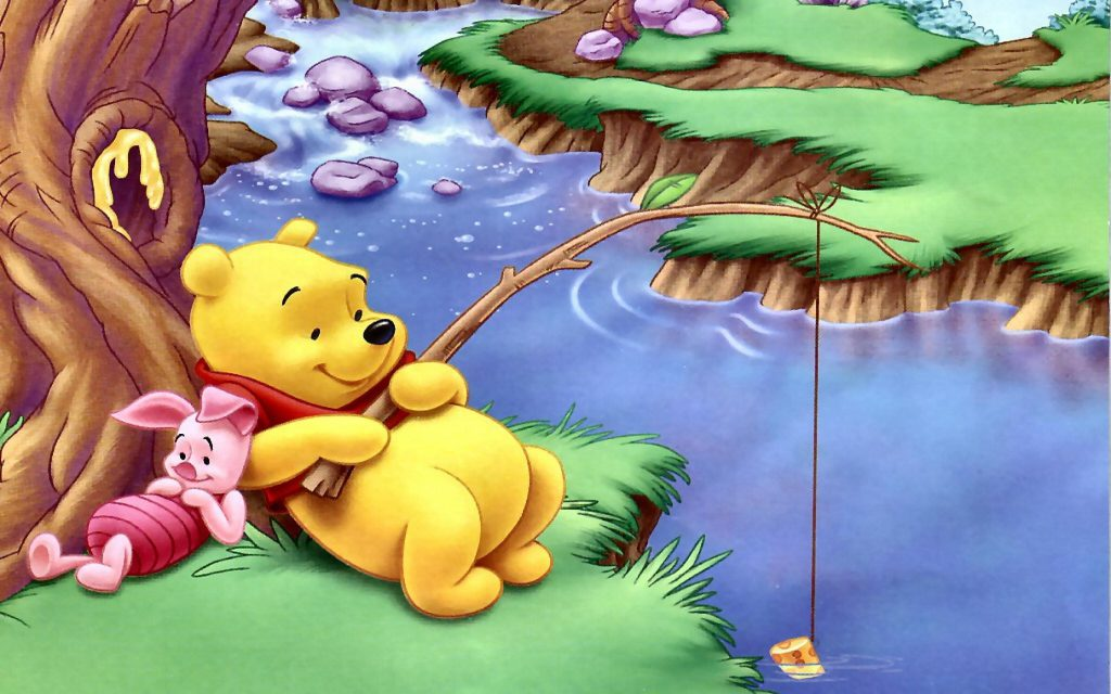 Winnie The Pooh And Piglet Fishing Wallpaper Background