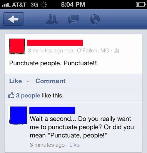 Punctuate People - Funny Facebook Post