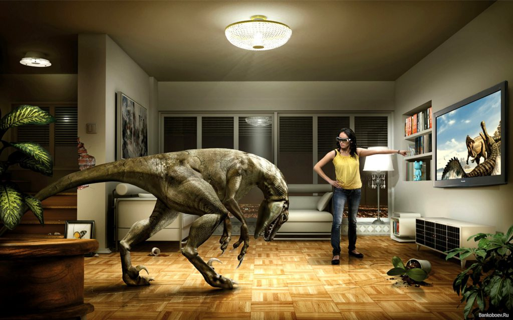 Dinosaur In The House - Funny Wallpaper - Funny Background