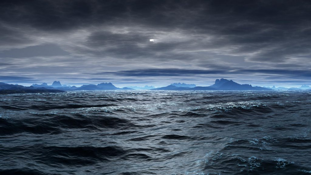 Rough Seas - ocean view with rough seas and dark skies with mountains in the background - wallpaper