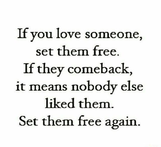 if you love someone, set them free. if they come back, set them free again. it means no on else liked them. set them free again. - relationship meme