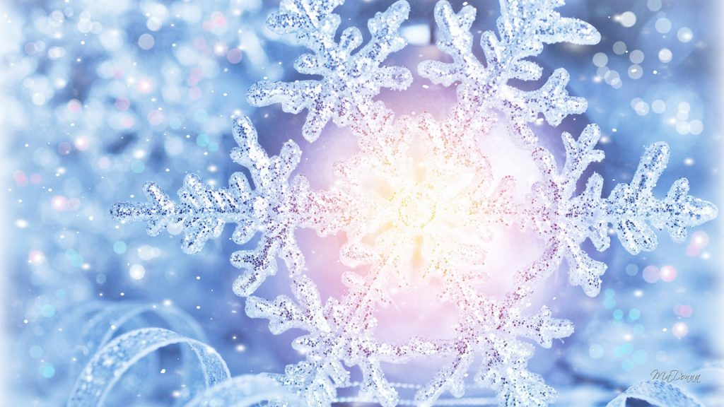 Shiny Snowflake - big snowflake light - winter wallpaper background