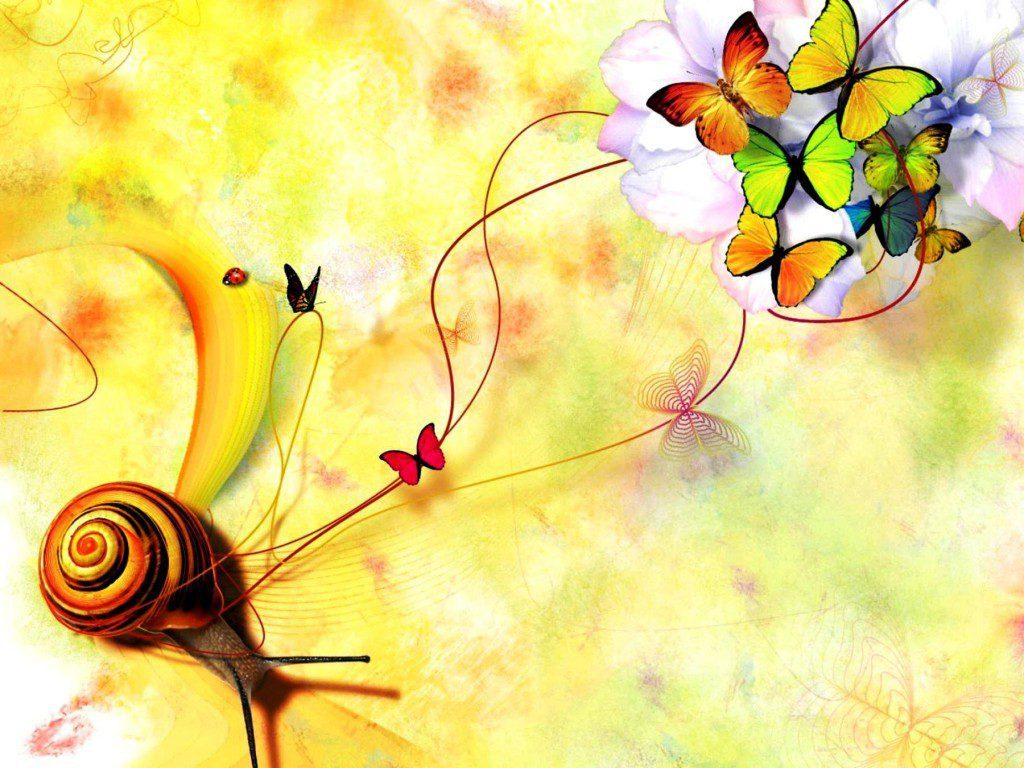 Abstract Snail And Butterflies - Wallpaper Background
