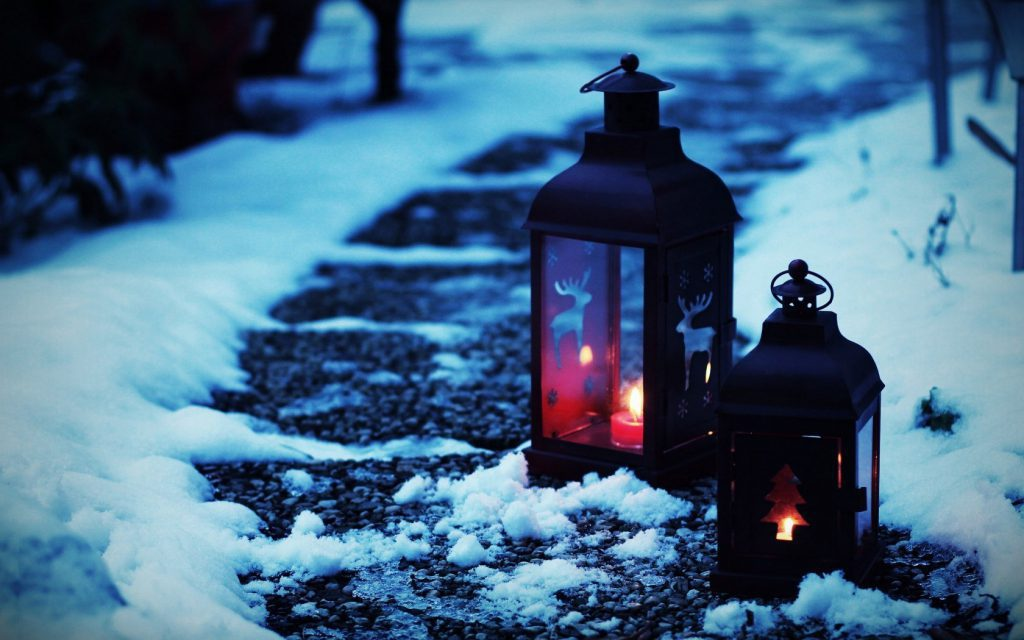 Winter Path - snowy path with lanterns at night - winter wallpaper desktop background