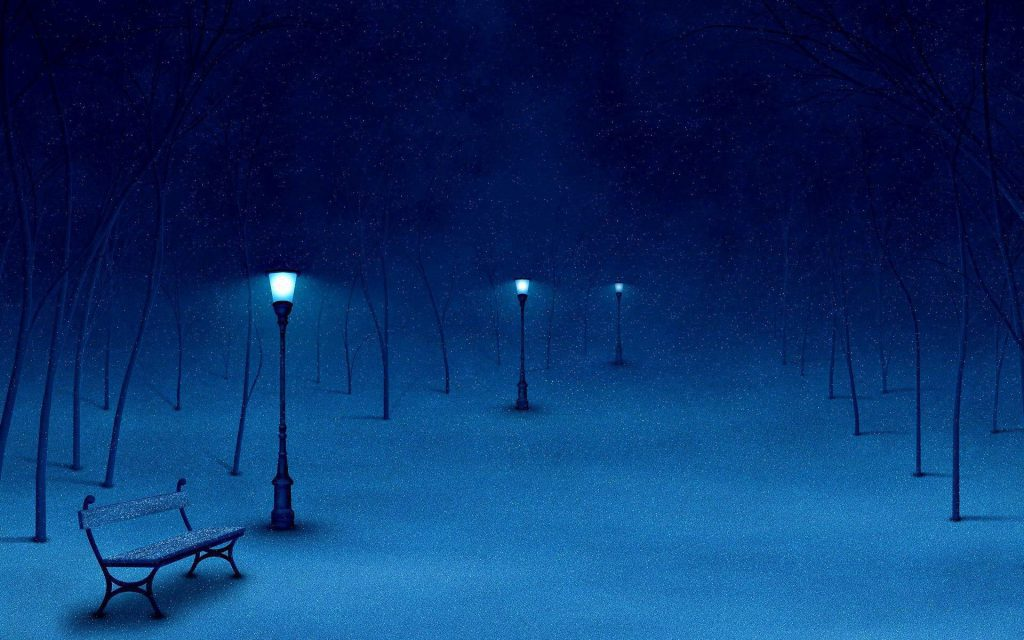 Snowy Park - lamp posts park bench at night - winter wallpaper background