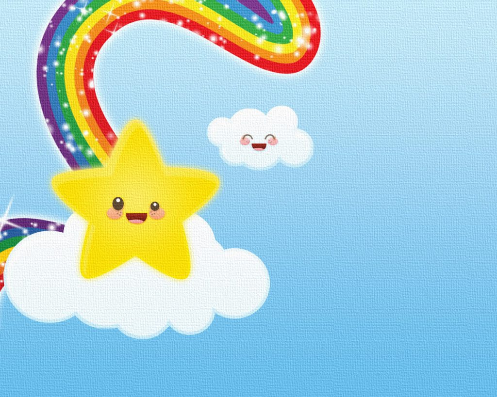 Animated Star And Rainbow - Wallpaper Background